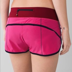 Lululemon Speed Shorts Hot Pink+Black